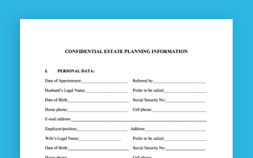 Photo of Confidential Estate Planning Worksheet For Married Couples